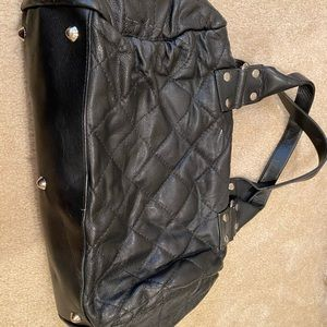 Black Leather Quilted Handbag